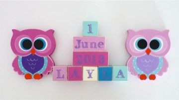 .Wooden Blocks - Personalised BLOCKS - OWL SET name, date and two freestanding blocks